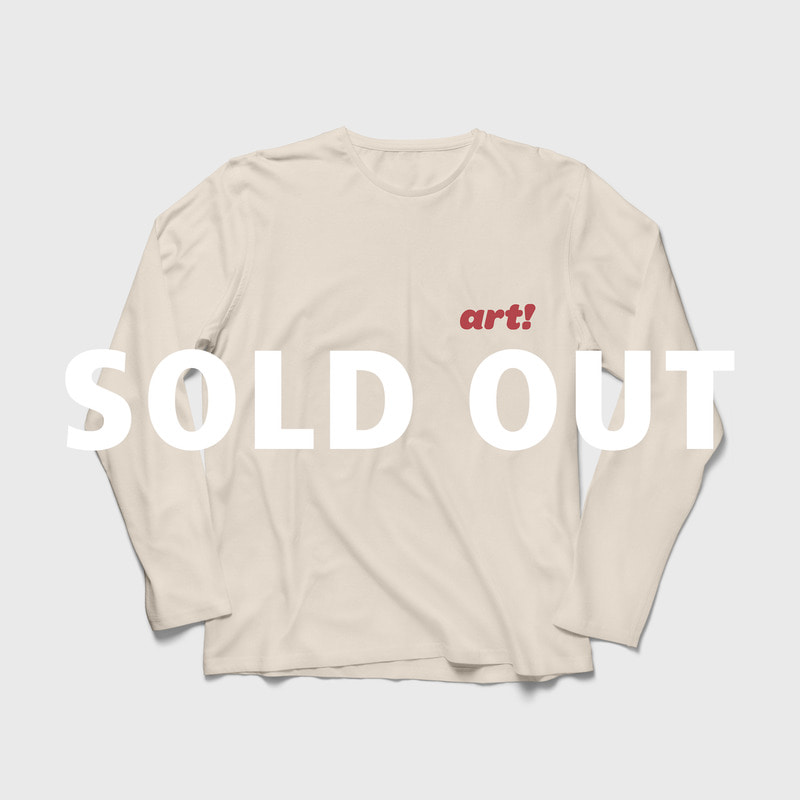 (당일 발송) 'Art!' Logo Relaxed Fit Long Sleeves T-shirt Beige