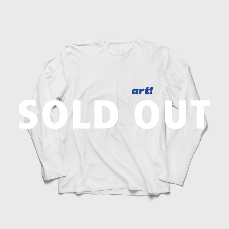 (당일 발송) 'Art!' Logo Relaxed Fit Long Sleeves T-shirt White