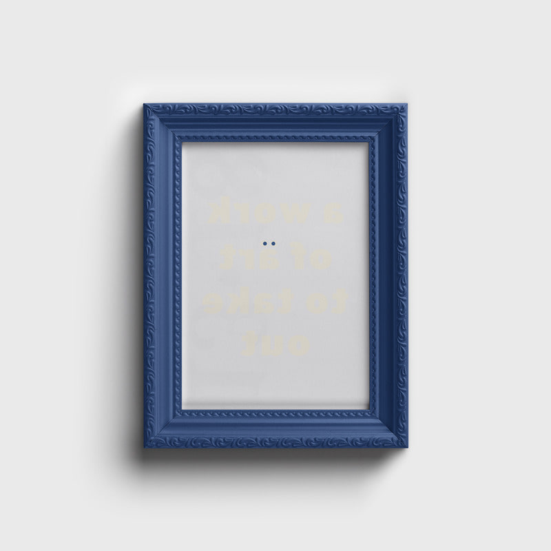 a Face Logo Wood Frame Blue