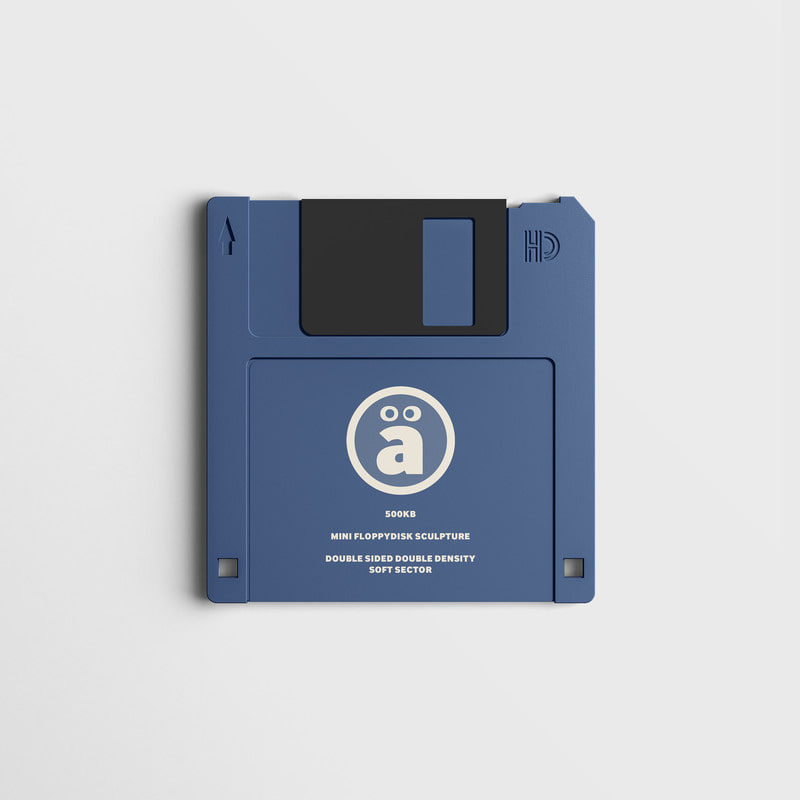 a Face Logo floppy disk Artwork Sculpture Blue