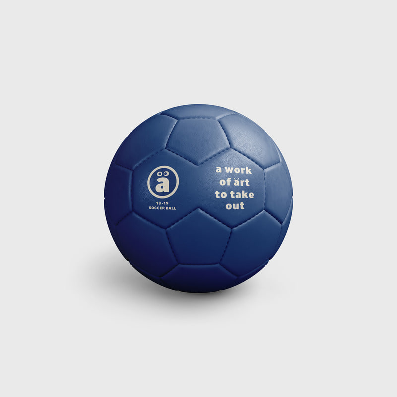 a face logo Soccer ball Blue