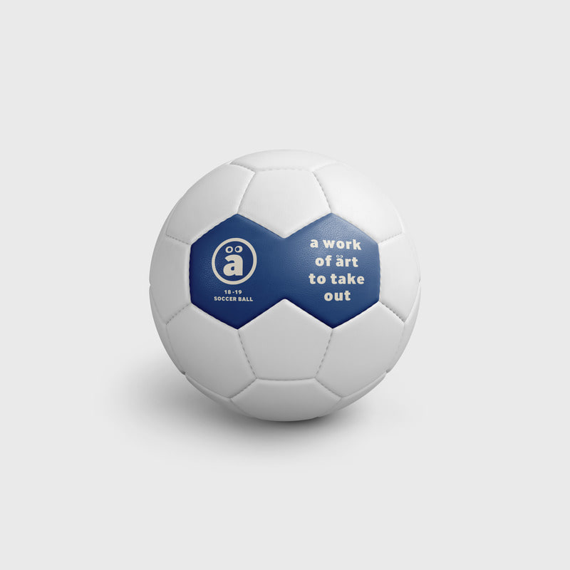 a face logo Soccer ball White